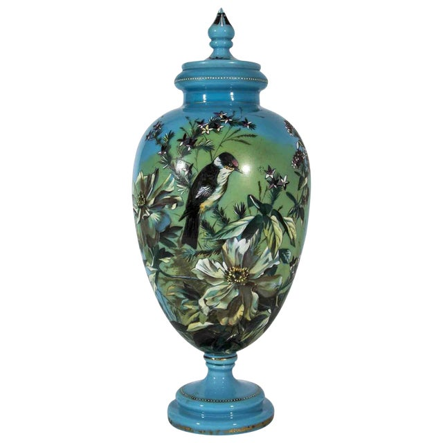 Antique Hand-Painted Covered Urn For Sale