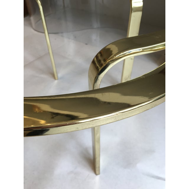 Interlocking Brass and Glass Round Cocktail Table For Sale In New Orleans - Image 6 of 11