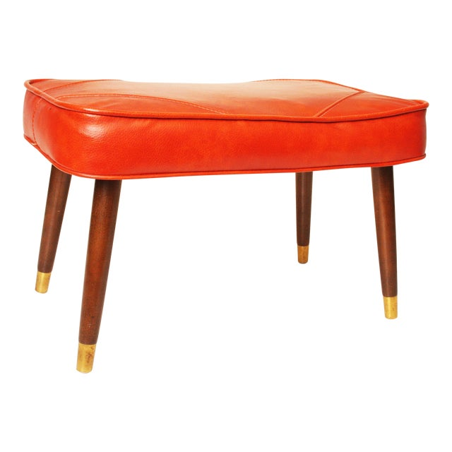 Mid-Century Modern Orange Vinyl Foot Stool - Image 1 of 11