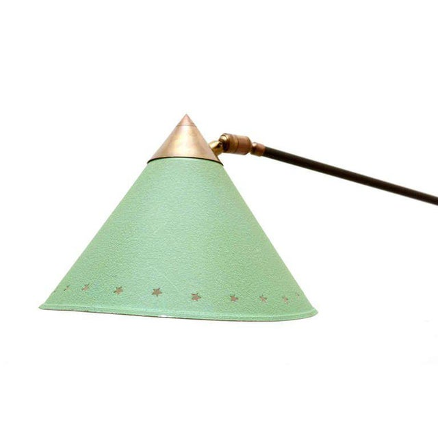 Metal Mid Century Modern Pierre Guariche Green Wall Sconce For Sale - Image 7 of 8