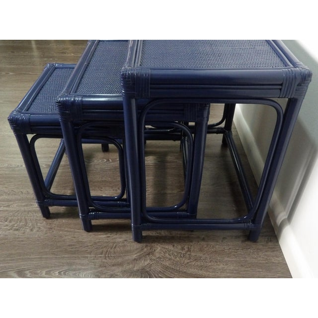 Early 21st Century Boho Chic Bamboo & Woven Rattan Set of 3 Nesting Tables For Sale - Image 5 of 6
