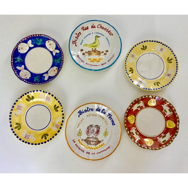 1980s Vintage Vietri Handpainted Plates- Set of 6 For Sale - Image 4 of 5