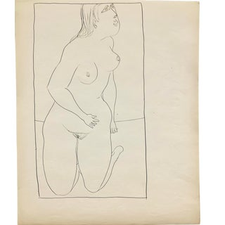 """Donald Stacy """"On Knees"""" C. 1950s Ink Mid Century Nude Drawing For Sale"""