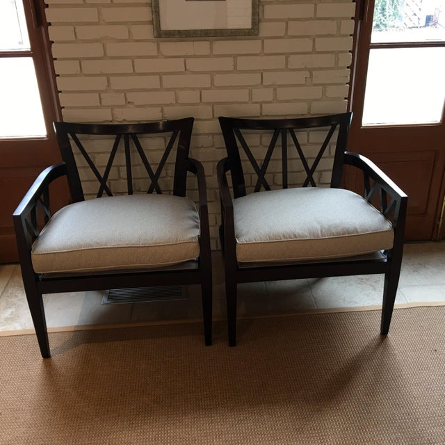 Baker Barbara Barry Double X Back Framed Chairs A Pair