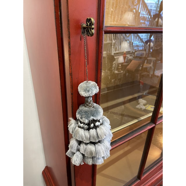 Vintage Asian Style Red Curio Cabinet For Sale In Boston - Image 6 of 9