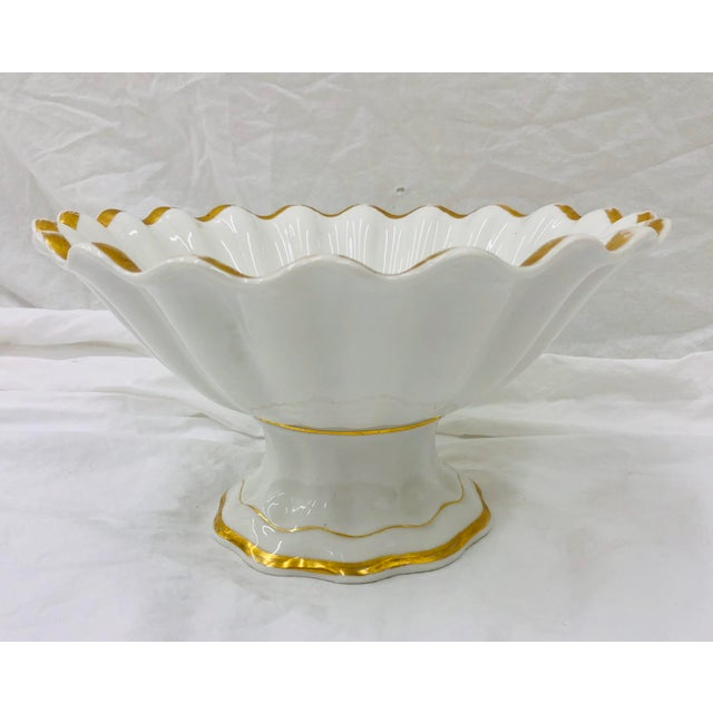 Stunning Antique White Porcelain Raised Dish on Pedestal with Scalloped edges and Gold Trim Detail. Sure to add interest...