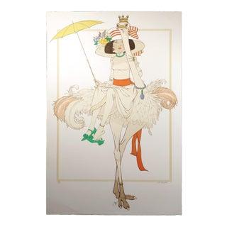 """1970s Philippe Noyer """"L'Autruche Et Femme"""" Hand Signed Lithograph For Sale"""