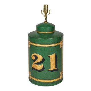Vintage Exported English Hand-Painted Number 21 Tea Caddy Table Lamp For Sale