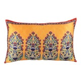 Image of Bohemian Silk Cushion Orange Red For Sale