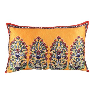Bohemian Silk Cushion Orange Red - a Pair For Sale
