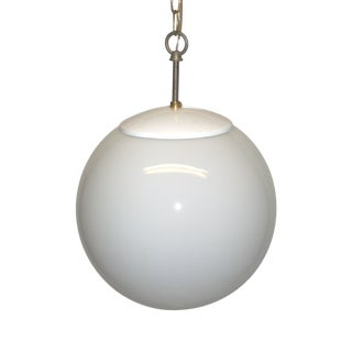 White Glass Globe Hanging Light For Sale