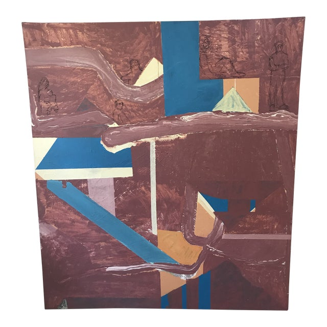 Mid Century Modern Large Original Abstract Oil Painting on Canvas For Sale