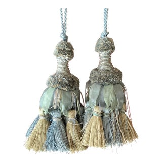 Vintage 1990s Large Chiffon, Cotton and Beaded Key Tassels - a Pair For Sale