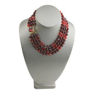 Vintage Red Art Glass Torsade Necklace For Sale
