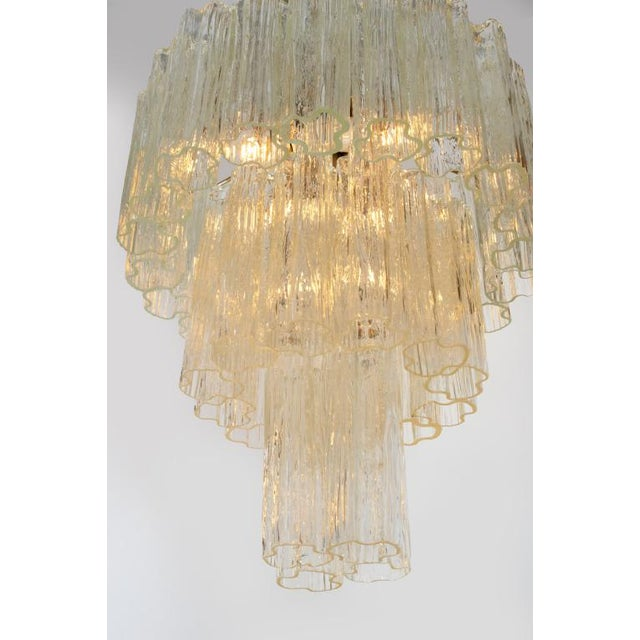 Italian Camer 3 Tiered Tronchi Tube Murano Glass Chandelier For Sale - Image 3 of 7