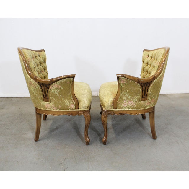 Pair of Vintage French Tufted Fireside Ladies Parlor Arm Chairs For Sale - Image 4 of 13
