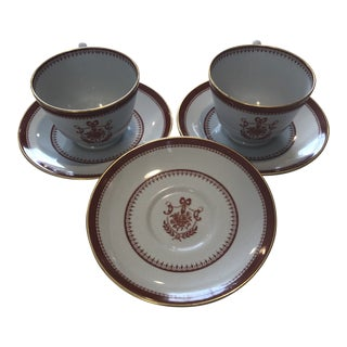 19th C. Spode Teacups and Saucers - Service for 2 For Sale