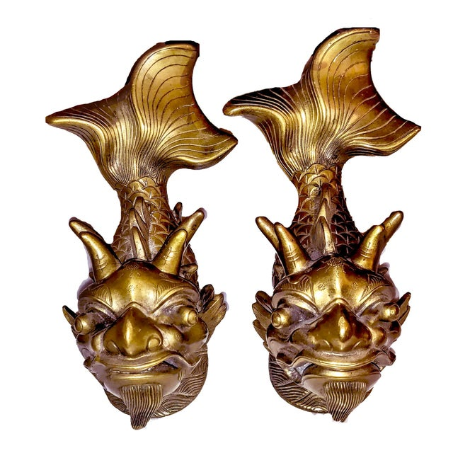 Art Nouveau Late 19th Century Shiwan Koi Foo Dragon Brass Door Knockers - a Pair For Sale - Image 3 of 8