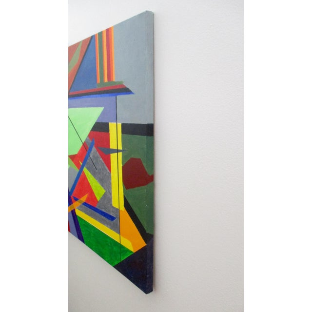 Mid 20th Century Abstract Hard Edge Acrylic Painting on Canvas For Sale - Image 5 of 9