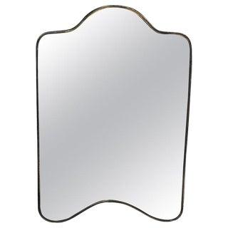 1950s Italian Brass Frame Shield Mirror For Sale