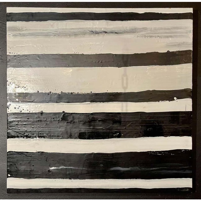 """Lynn Basa encaustic black and white stripe panel """"Doppleganger"""" (signed and dated) 2013. Oil / beeswax on panel. This is..."""
