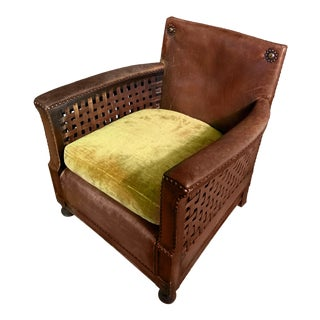 Early 1940s Otto Schultz Woven Leather Club Chair, Boet, Sweden For Sale