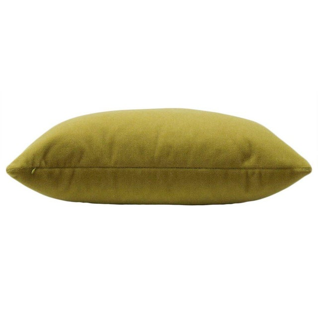 "22"" Mohair Velvet Pillows in Chartreuse - a Pair - Image 4 of 5"