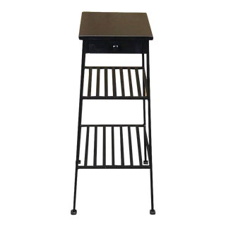 Tapering Industrial Blackened Wrought Iron End Table