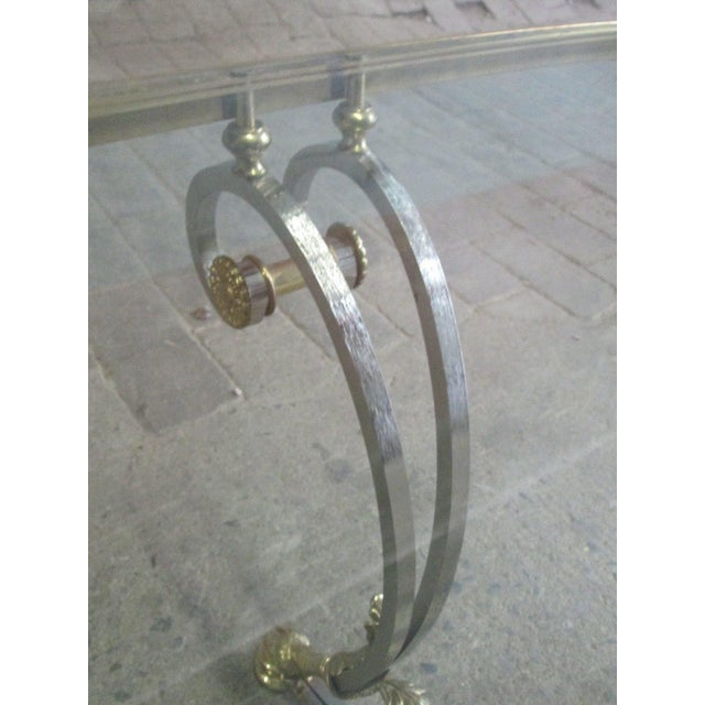 Polished Steel and Brass Coffee Table Manner of Maison Jansen - Image 6 of 9