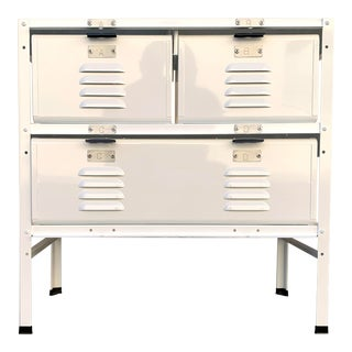 2 X 2 Locker Basket Unit in White on White, Newly Fabricated to Order For Sale