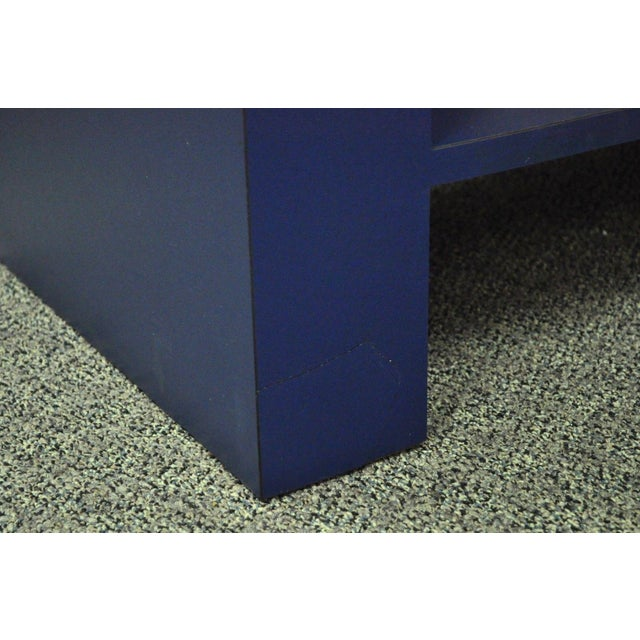 Mid Century Post Modern Blue Laminate Curved Waterfall Console - Image 7 of 11