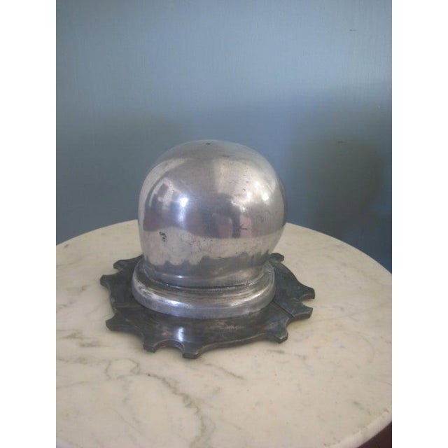 Mid-Century Modern 1930s Vintage Art Deco Period Aluminum Head Form on Dragster Clutch Plate Base Sculptural Piece For Sale - Image 3 of 7