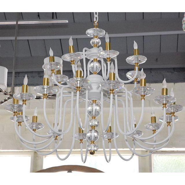 This white chandelier, c1950s, was restored with new finish, refinished brass, new crystal and electrical. Great showroom...