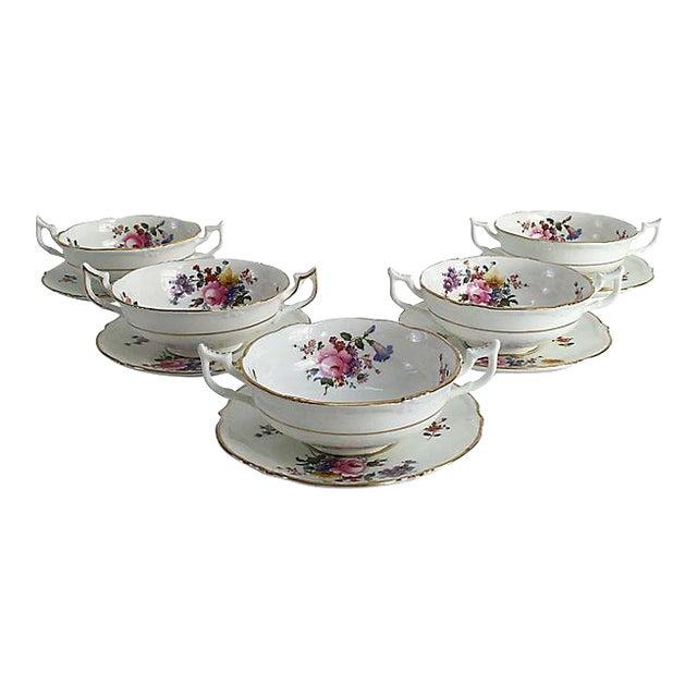 English Porcelain Cauldon Soup Bowl Set - Set of 10 For Sale