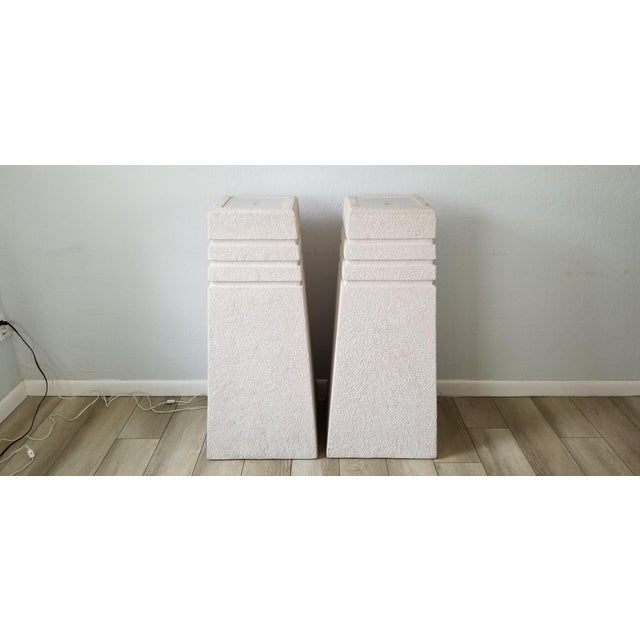 White Vintage Postmodern Plastered Wood Illuminated Pedestals. - a Pair For Sale - Image 8 of 13