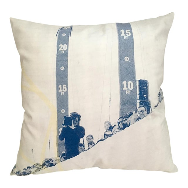 Blue & White Photorealism Pillow For Sale