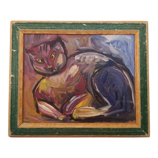 Vintage Mid-Century Portrait of Feline Painting For Sale