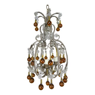 Amber Drop Crystal Beaded Chandelier For Sale