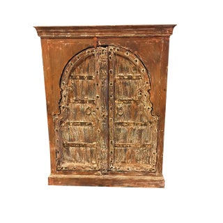 Antique Haveli Decor Rustic Red Wooden Double Door Chest Sideboard For Sale