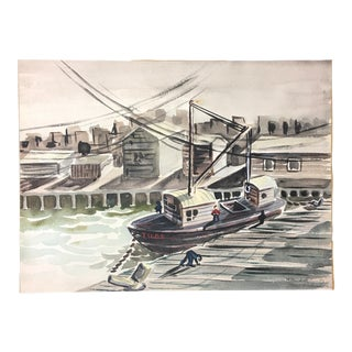 1952 Marine Watercolor Unframed For Sale