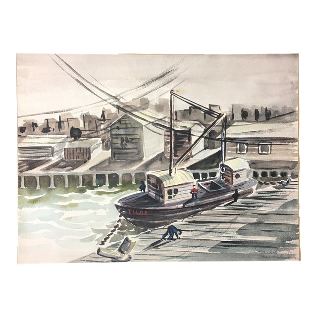 1952 Marine Watercolor Unframed - Image 1 of 7