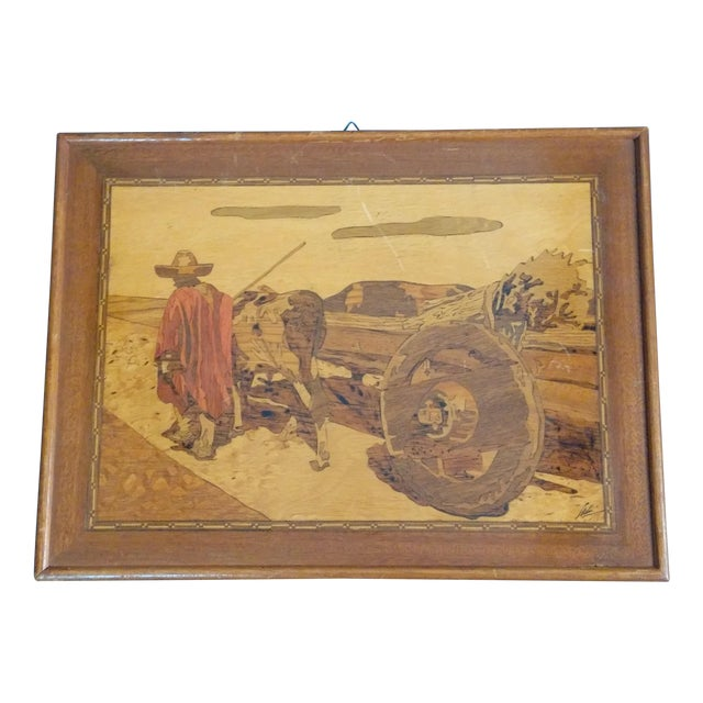 Vintage Arts & Crafts Inlaid Wood Picture For Sale