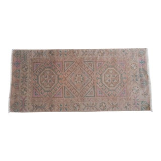 Wool Pile Small Turkish Floor Mat Carpet With Decorative Diamond Pattern, Handmade Bedroom Rug 1'9''x3'10'' / 54X118cm For Sale