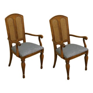 Stanley Furniture Contemporary Style Cane Back Dining Arm Chairs - Set of 2 For Sale
