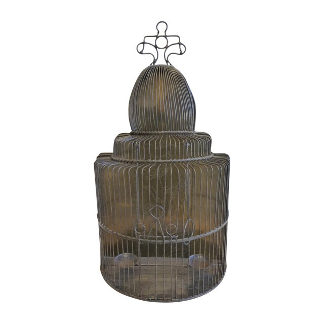 Large European Style Brass Bird Cage - Tabletop or Hangs Flat - Image 1 of 8
