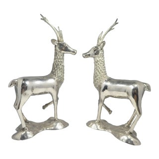 Miniature Silvered Brass Deer Figurines - a Pair For Sale