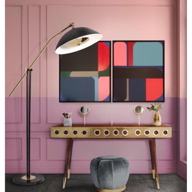2010s Brooks Burns Framed Original Abstract Geometric Paintings - a Pair For Sale - Image 5 of 5