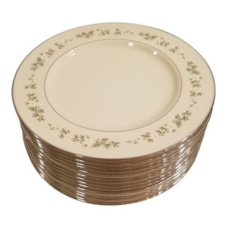 Lenox Brookdale Off White Trimmed in Silver Dinner Plates - Set of 14 For Sale