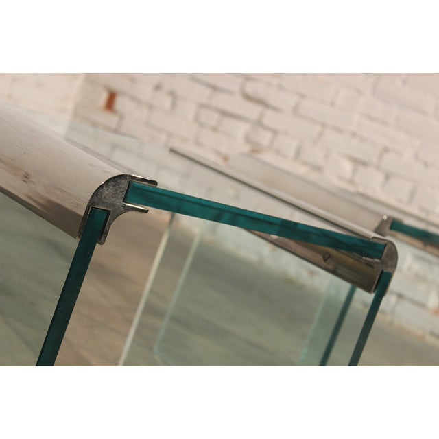 Pace Chrome & Glass Waterfall Side Tables - Pair - Image 10 of 10