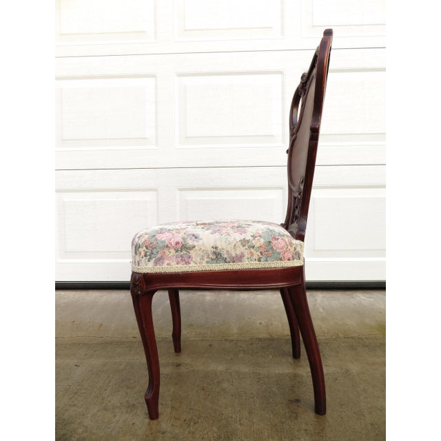 Late 19th Century Antique French Carved Mahogany Art Nouveau Side Chair For Sale - Image 9 of 13
